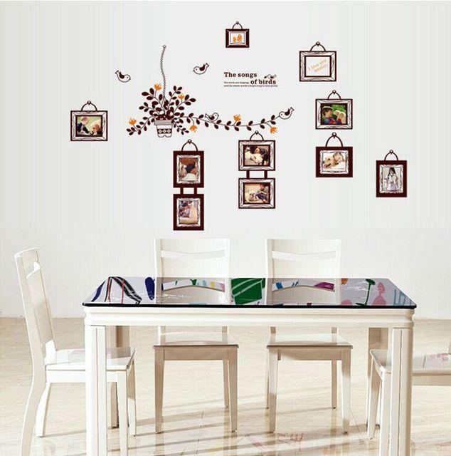 Lovely Birds Photo Frame DIY Wall Stickers Living Room TV/Sofa Backdrop  Decor Mural Decal