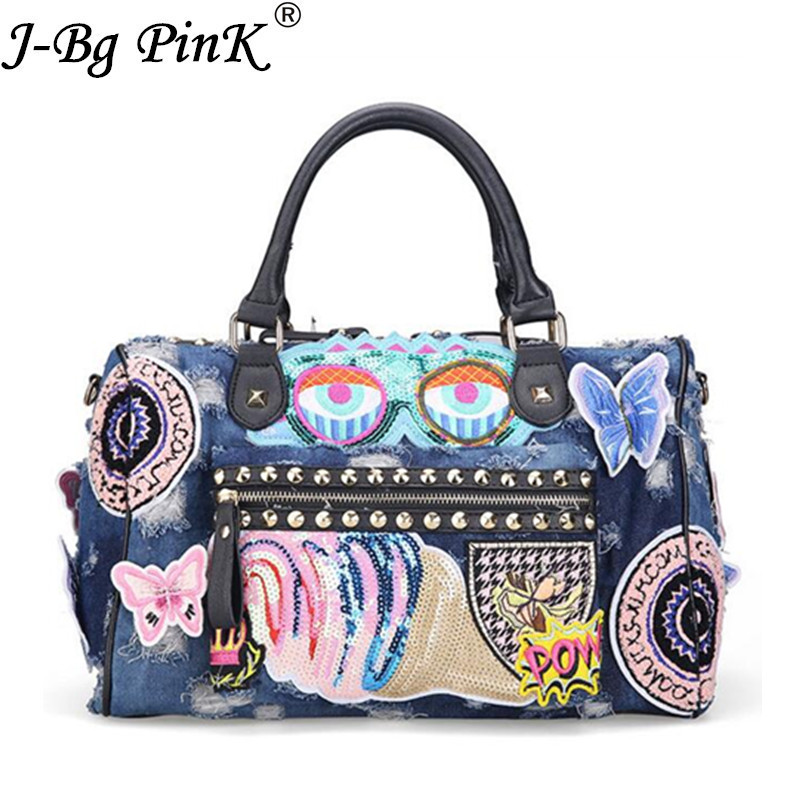 2018 Butterfly Embroidery Fashion Denim Women Bag Lady Luxury Handbags Jeans Tote Bag Rivet Women's Shoulder Bags Casual Totes luxury good quality new fashion women zipper jumpsuit slim fit skinny jeans rompers pocket denim jumpsuits size sexy girl casual