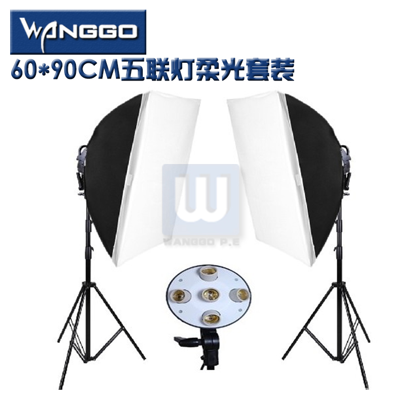 Photo Studio Video Lighting Kit Photography two 200cm Light Stand + two 60x90cm Softbox studio continuous photography light CD50 professional godox ql1000 1000w photo photography studio video continuous light lighting