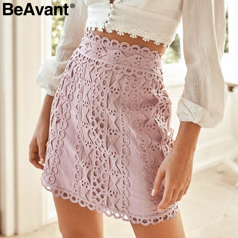 BeAvant Embroidery A-line Women Skirt Casual Streetwear Autumn Female Cotton Skirts Party Club Ladies Mini Pink Skirts Bottoms
