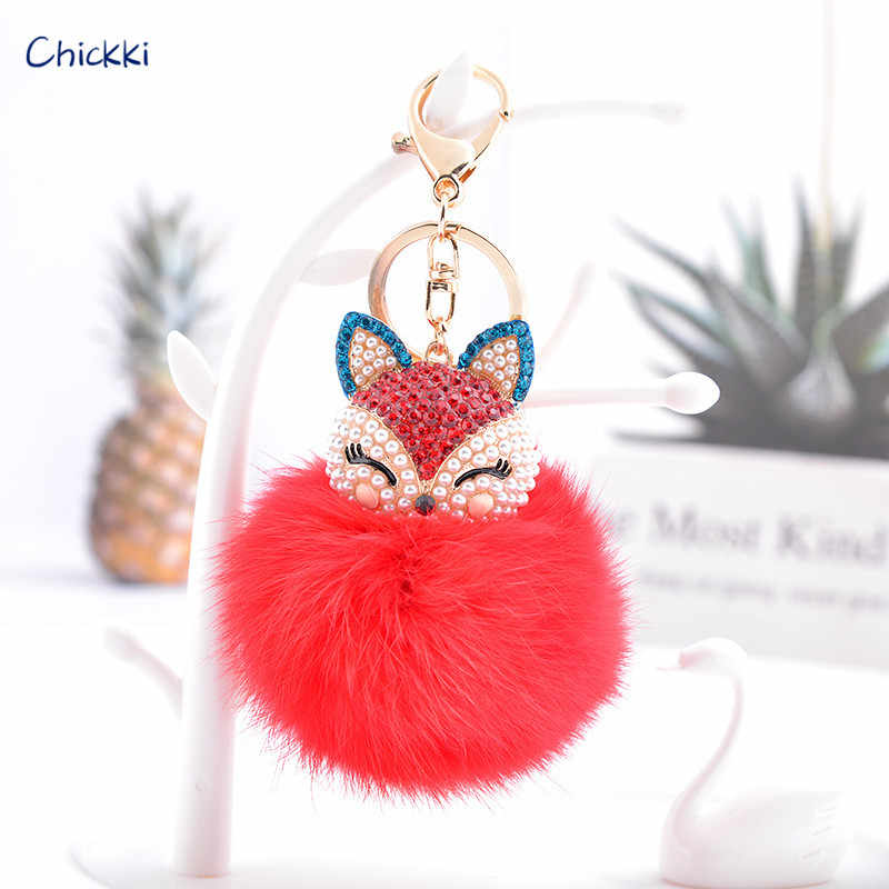 33138b4e51ed Chickki Cute Fox Bunny Keychain Fur Pom Pom Ball Keychain Women Bag Pendant  Pretty Chic Handmade
