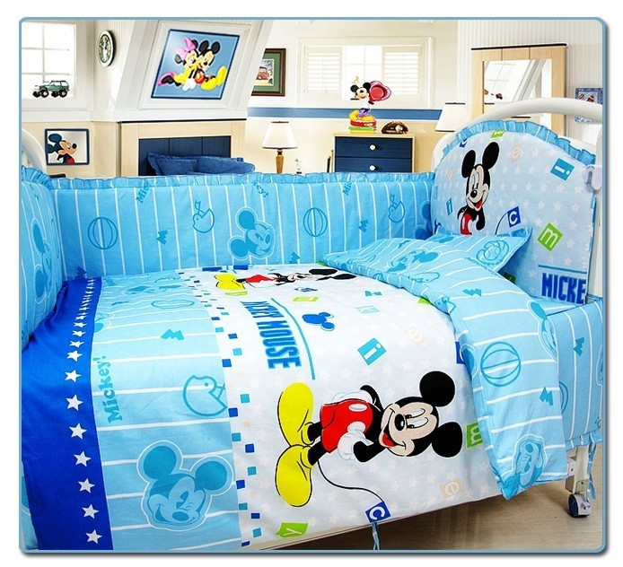 Promotion! 10PCS Mickey Mouse 100% cotton baby bedding sets cover,baby bedding sets for crib set (bumper+matress+pillow+duvet)