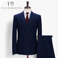 Тянь QIONG Для мужчин Slim Fit Royal Blue Сшитые на заказ костюмы Свадебный костюм этап одежда Костюмы модные Для мужчин s двубортный 3 предмета костюмы