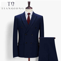 TIAN QIONG Men Slim Fit Royal Blue Tailor made Suits Wedding Suit Stage Wear Clothing Fashion Mens Double Breasted 3 Piece Suits