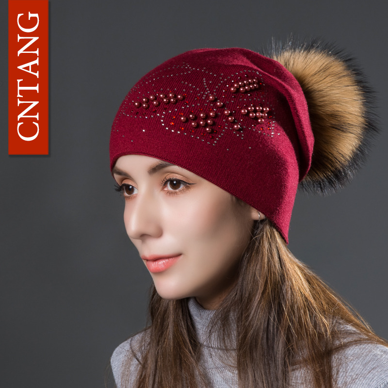 CNTANG 2017 Fashion Pearl Butterfly Women Hats Knitted Wool Beanies Autumn Winter Warm Caps With Natural Fur Pom Pom Ladies Hat