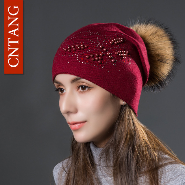 CNTANG 2018 Fashion Pearl Butterfly Women Hats Knitted Wool Beanies Autumn Winter  Warm Caps With Natural Fur Pom Pom Ladies Hat f5c85115d53a