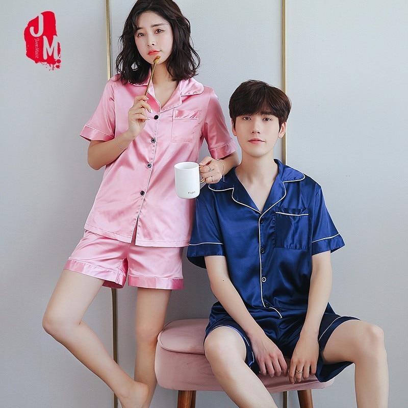 2018 Silks Men Pajama Set Lovers Sleepwear Men Suit Short Sleeve Pyjamas Satin Mens Pajamas Solid Silk Silk Sleepwears Mens ...