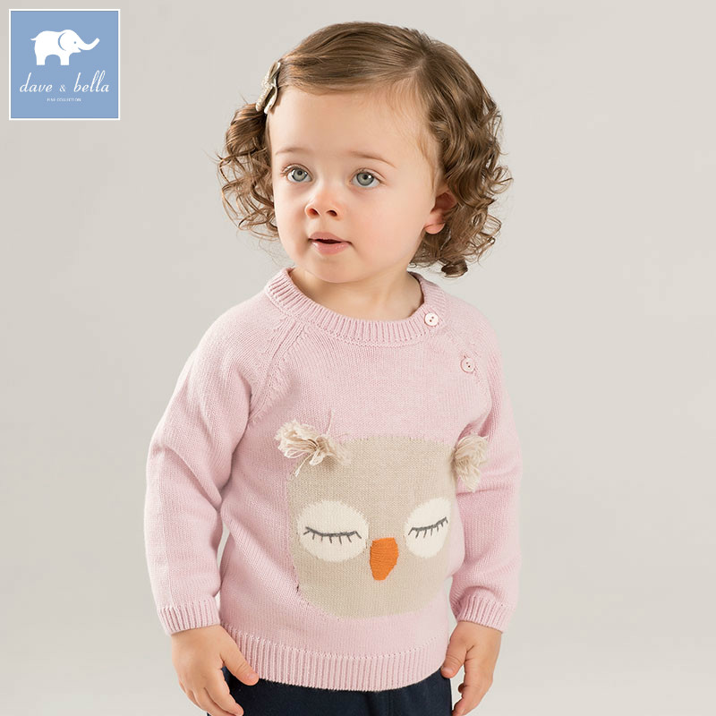 DB8666 dave bella autumn knitted sweater infant baby girls long sleeve pullover kids toddler tops children