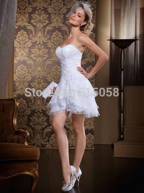 Vintage Lace Appliques Sweetheart Ruffles Short Mini Wedding Dress ...