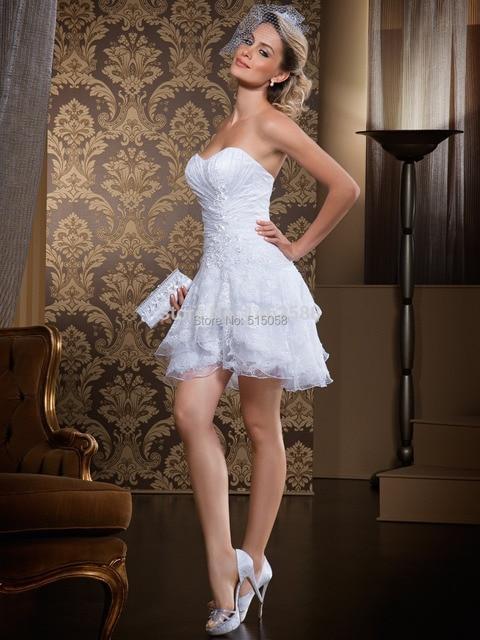 Vintage Lace Appliques Sweetheart Ruffles Short Mini Wedding Dress