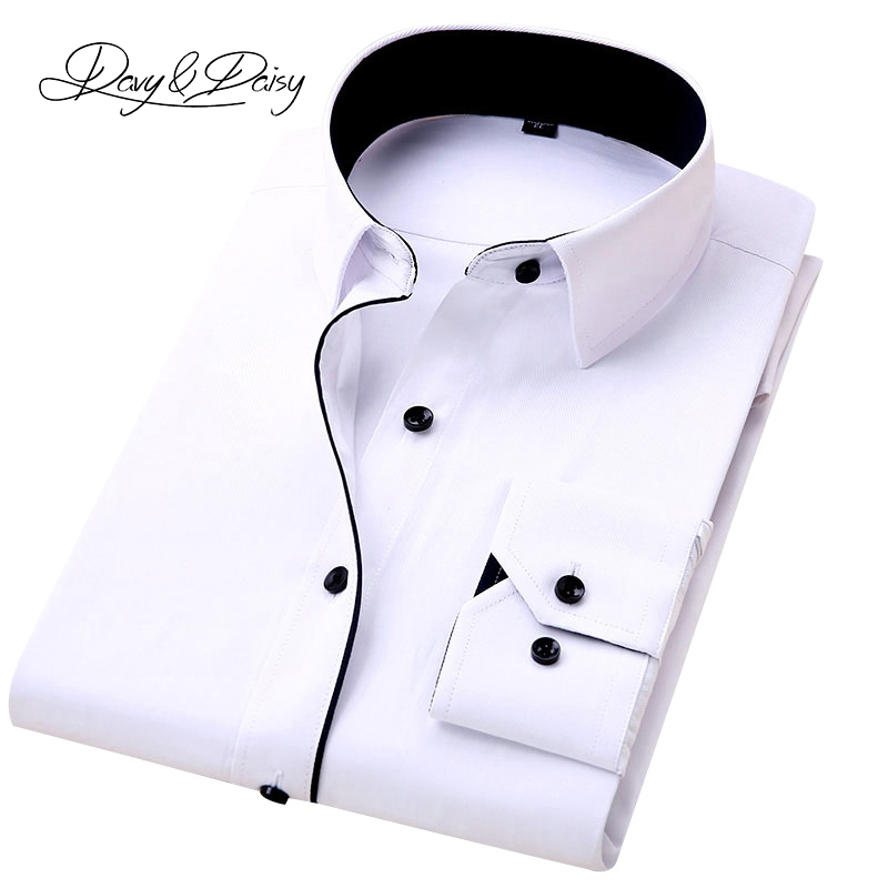 DAVYDAISY 8XL 7XL 6XL 5XL Men Shirt New 2020 Spring Long Sleeved Solid White Male Business Causal Shirt Formal Shirt Man DS292