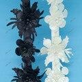 Новое Прибытие Черный/Бежевый 3D Кожа Цветок Вышивка Рождество Кружевной Отделкой Лента Bricolage 5 см Для Ювелирных Изделий DIY Швейные свадьба