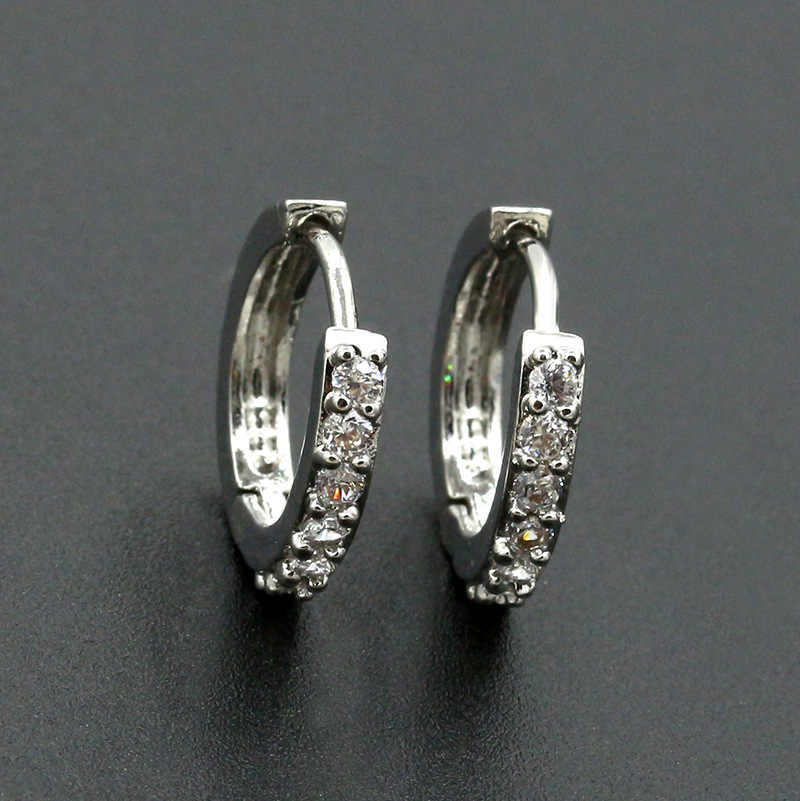 Vintage Women Round Earrings Cubic Zirconia siver Plated Earing White Stone Crystal Luxury Circle Hoop Earring Jewelry