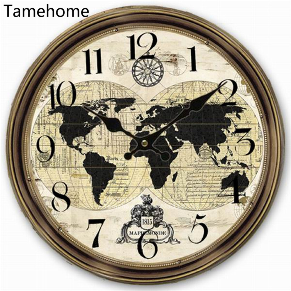 Tamehome retro style usa american flag map car plate number world tamehome retro style usa american flag map car plate number world map round wall clock wood 34cm 13inch american map distressed in wall clocks from home gumiabroncs Image collections