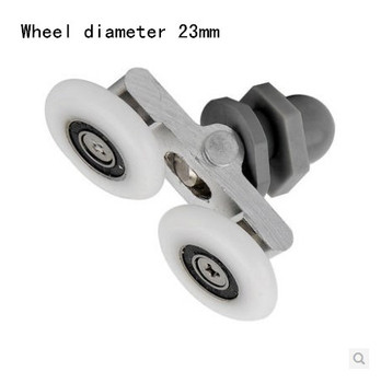 mute  Wheel diameter23mm Glass shower door roller pulley shower room roller cabins up and down single wheel nylon bouncing wheel bathroom glass sliding door pulley