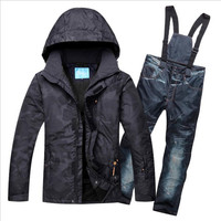Men Ski Suit Ski Wear Skiing Snowboard Jacket Pant Windproof Waterproof Breathable Outdoor Sport Wear Male Suit Clothing Trouser