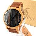 Bobo bird h08 vogue mens relojes dial cuero del cuarzo reloj de pulsera en caja de regalo de madera de bambú hombre relojes 2016