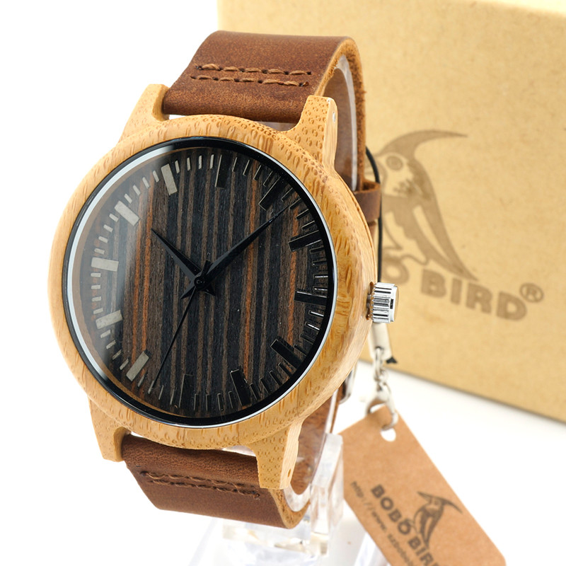 Unique Vogue font b Mens b font Quartz Watches Wooden Outdoor Sport Watches Clock With Leather