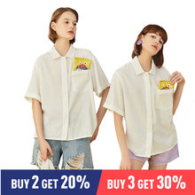 Toyouth 2019 Women Summer Blouse Casual Half Sleeve Loose White Shirt Female Turn-down Collar Short Sleeve Blouses(China)
