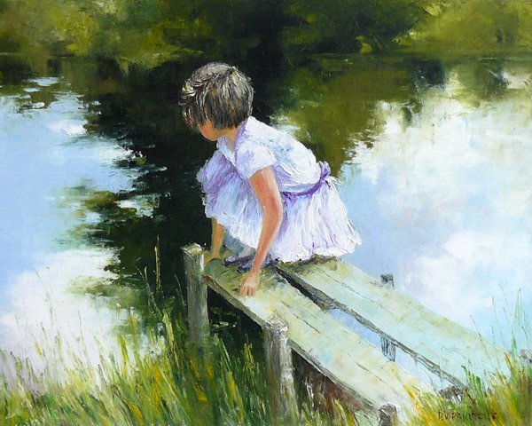 Charming original oil painting NEAR THE RIVER II canvas painting  100% free shipping