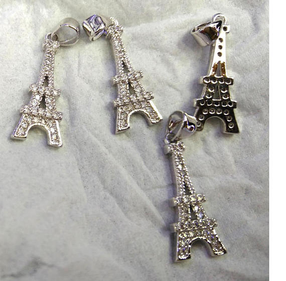 Eiffel Tower 12pcs Micro Pave Diamond Pendant 25-50mm Paris Tower Silver pave Black Diamond CZ bead eiffel tower