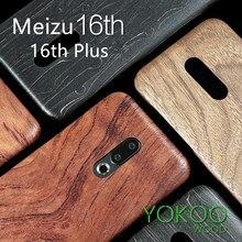 Funda trasera delgada de madera de caoba de palisandro de madera de enonía de nogal para Meizu 16th /16th Plus