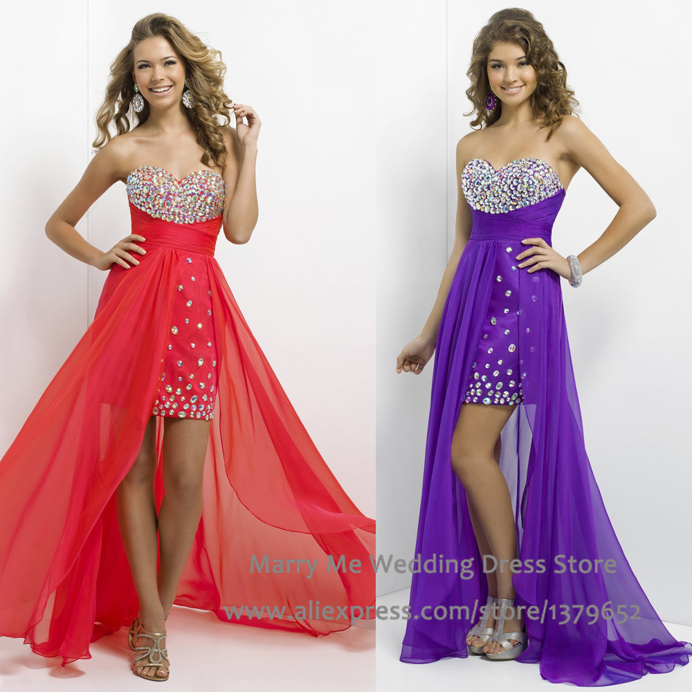 prom dresses short in front long in back purple www