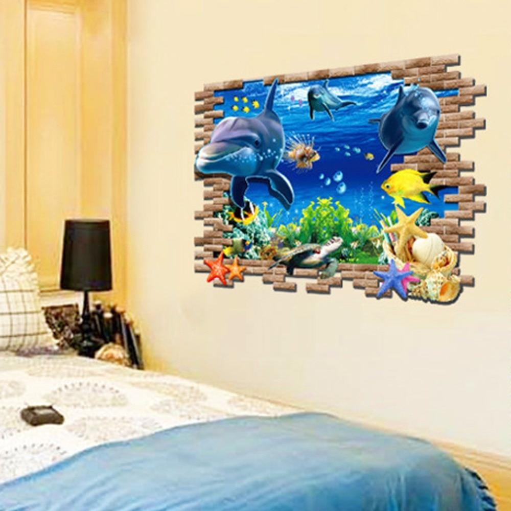 Personalizada sal n dormitorio 3d mundo submarino tibur n for Pegatinas pared ninos