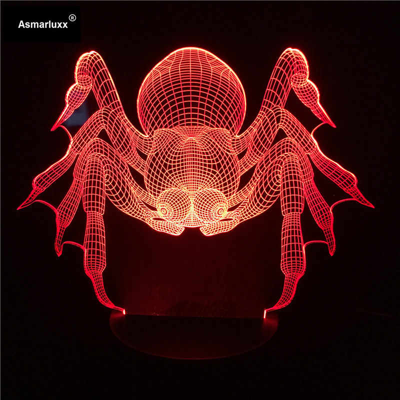 Spider 3D Illusion Lamp Colorful USB Household Bedroom Office LED Table Lamp Child Night Lights Party Gift Home Deco Free Ship