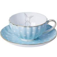 White Dots Little Rabbit Ceramic Bone China Coffee Cup Saucer Set 180ml British Style Black Tea Milk Cup With Spoon