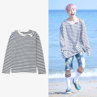 New Kpop BTS Bangtan Boys JIMIN Same Irregular Neckline Stripe Sweatershirt Pullover Hoodie Long Sleeve Shirt