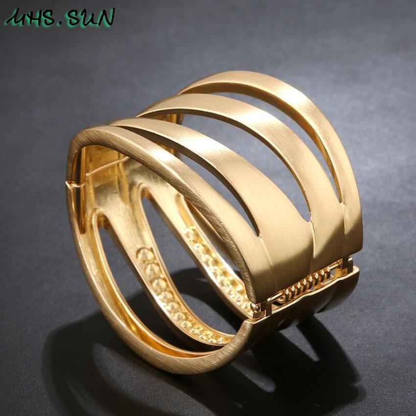 8-2Punk Hollow Ladies Women Bangle Bracelets Fashion Exaggerated Girls Bangles Bracelets European Female Jewelry For Gift