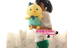 middle yellow chicken plush toy lovely green cloth chicken doll gift about 45cm