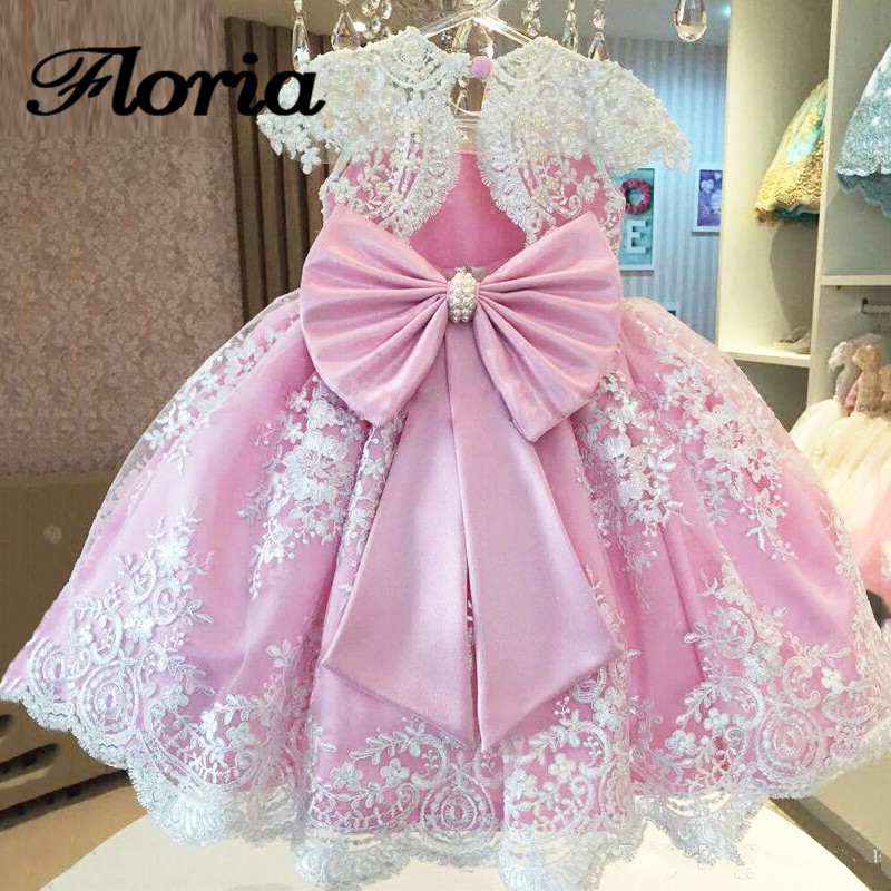 Elegant Pink Flower Girl Dresses with Bow First Communion Dresses For Girls Girls Pageant Gowns For Weddings Vestidos Daminha