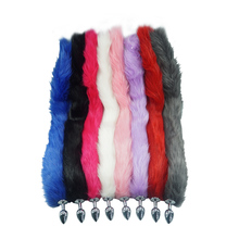8 color for choose 78cm length long fox Tail Dia 27mm Anal Plug Metal Butt plug Role Play Flirting Fetish hot dog tail sex Toy