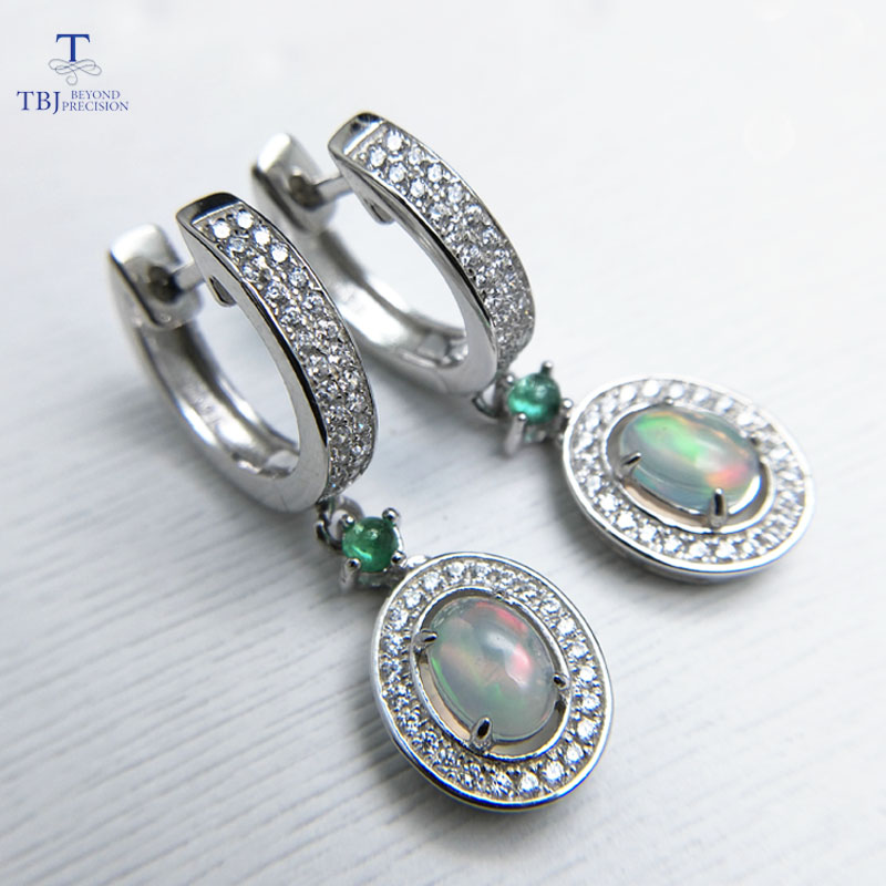 TBJ 2019 new classic clasp earring with natural opal and green emerald gemstone jewelry in 925