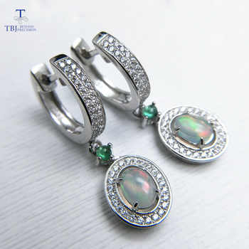 TBJ,2019 new classic clasp earring with natural opal and green emerald gemstone jewelry in 925 sterling silver for anniversary - DISCOUNT ITEM  8% OFF All Category
