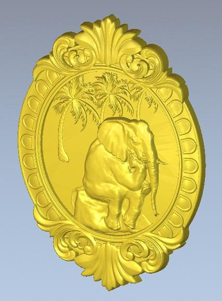 panno_elephant  model for cnc in STL file 3d relief locket 16 for cnc in stl file format 3d model relief