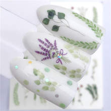 WUF Brand New 1 PC Green Grass Water Transfer Sticker Nail Art Decals DIY Fashion Wraps Tips Manicure Tools(China)