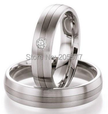 Bagues de fiançailles de luxe en acier inoxydable titane couleur or blanc pour hommes et femmes