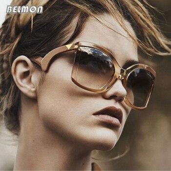 BELMON Sunglasses Women Luxury Brand Designer Oversized Sun Glasses Ladies UV400 For Female Big Frame  de sol Shades RS390