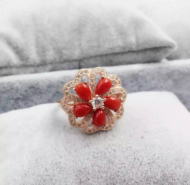 Natural red coral gem Ring Natural gemstone ring 925 sterling silver trendy Elegant round Flowers women wedding gift JewelryNatural red coral gem Ring Natural gemstone ring 925 sterling silver trendy Elegant round Flowers women wedding gift Jewelry