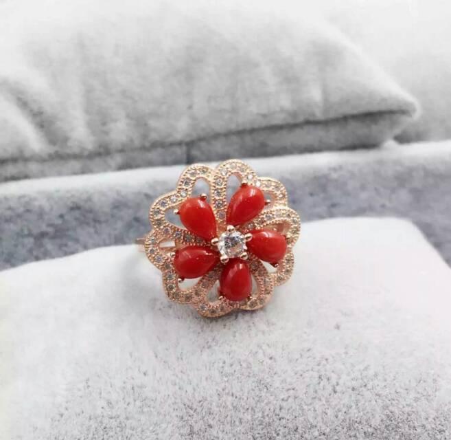 Фото Natural red coral gem Ring Natural gemstone ring 925 sterling silver trendy Elegant round Flowers women wedding gift Jewelry. Купить в РФ
