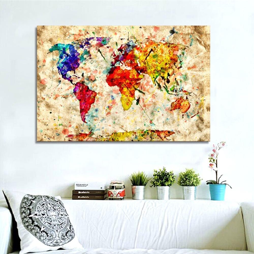 Luxury World Map Oil Painting 5D Handmade DIY Diamond Painting ...