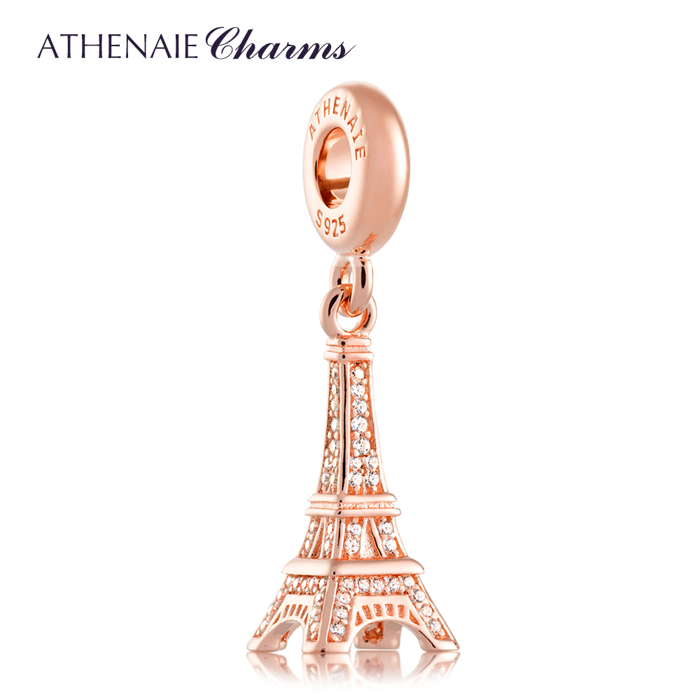 ATHENAIE 925 Silver Pave Clear CZ Eiffel Tower Pendant Drops Charm Beads Fit All European Bracelets Necklace Color Rose Gold eiffel tower charm bangle