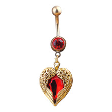 New Golden Love Heart Dangle Wing Body Piercing Rhinestone Navel Belly Button Ring M782