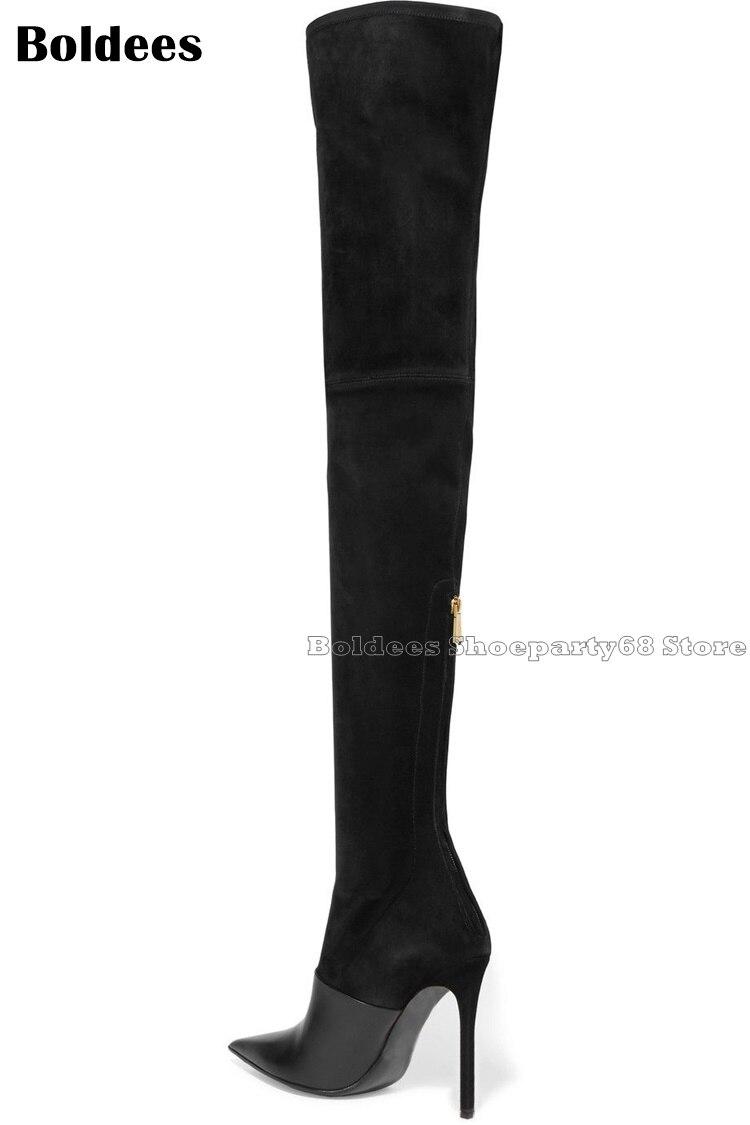 Modèle Du Suede Leather Femmes as Showed Color Slim Sexy Belle Fit Noir Genou Bout Black Designer Pointu Long Boot Dessus Bottes Spectacle Cuissardes Doux Brun doEeCrQxWB