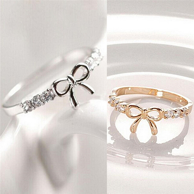 Simple Crystal Bow Ring Jewelry 1Pc Fashion Rings For Women Korean Jewelry
