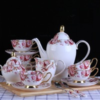 Luxury British Style Bone China Teapot Mug Plate Sugar Bowl Plant Flower Pattern Phnom Coffee Set