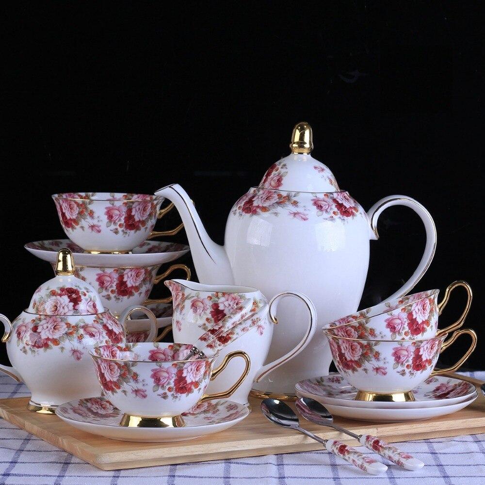 Tasse à café en porcelaine 15 pièces | De Style britannique, théière en porcelaine, assiette de tasse, bol à sucre, plante, fleur, motif Phnom